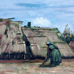 "overstockArt.com - Van Gogh - Peasant Women Digging In Front Of Her Cottage - 20"" X 24"" Oil Painting On Canvas Hand painted oil reproduction of a famous Van Gogh painting, Peasant Woman Digging in Front of her Cottage. The original masterpiece was created in 1885. Today it has been carefully recreated detail-by-detail, color-by-color to near perfection. Vincent Van Gogh's restless spirit and depressive mental state fired his artistic work with great joy and, sadly, equally great despair. Known as a prolific Post-Impressionist, he produced many paintings that were heavily biographical. This work of art has the same emotions and beauty as the original. Why not grace your home with this reproduced masterpiece? It is sure to bring many admirers!"