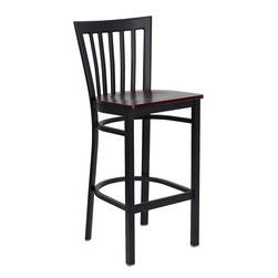 Flash Furniture - Flash Furniture Hercules Series School House Back Metal Restaurant Barstool - This heavy duty commercial metal bar stool is ideal for restaurants, hotels, bars, pool halls, lounges, and in the home. The lightweight design of the stool makes it easy to move around. The tubular foot rest not only supports your feet, but acts as an additional reinforcement that helps secure the legs. You will not regret the purchase of this bar stool that is sure to complement any environment to fill the void in your decor. [XU-DG6R8BSCH-BAR-MAHW-GG]