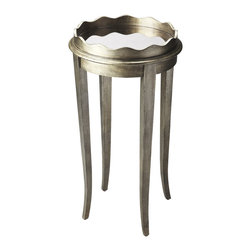 Butler Specialty - Butler Racine Mirrored Accent Table - This classic accent table makes a great addition to virtually any space. Boasting slim tapered legs and a scalloped wood gallery, it is crafted from poplar hardwood solids and wood products. It features an antique mirror tabletop enhanced by a pewter finish.