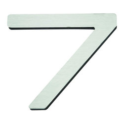 Atlas - Paragon House Number 7 - PGN7-SS - Manufacturer SKU: PGN7-SS. Stainless steel surface. Weather resistant. Peel-n-stick recycled backing. Lacquered for durability. Dense polyfiber backing. Projection: 0.75 in.. Made from metal. 4 in. L x 4.75 in. W