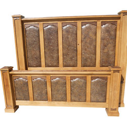 "Rawhide King Size Bed - Handcrafted from solid alder wood with walnut accents.  Bed features ""floral frenzy"" genuine embossed leather in panels of foot and headboards.  Can be customized!"