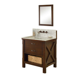 """J and J Vanities - 32"""" Espresso Xtraordinary Spa Premium Single Vanity Sink Cabinet - This is the pinnacle of furniture style bath vanity cabinet. It combines the casual feel of a cabin, to the functionality demanded in an urban environment. It has the most solid wood used in a furniture style vanity in its class, and completed with the highest end soft closing mechanisms on all hinges. The handsome looking basket that tailored to this Xtraordinary vanity line is also included. Oh, have we mentioned the infinity sink inserts are included as well (US Utility Patent Pending)? This special water feature is included in the Xtraordinary vanity line. And it takes just seconds to convert normal undermount sinks to infinity sinks, something you can only imagine in a spa. The richness of the light espresso color cabinet, combined with prized White Carrera Marble and extra deep counter for the extra counter space. To top it off, we make it wall mount faucets ready (US Utility Patent Pending), we make the installation of wall mount faucet all within the cabinet so you do not need to mess with the wall. For the first time, you will be able to enjoy a designer level bathroom with wall mount faucets on a furniture style vanity. All at a drastic cost saving. Here are some of the important facts before your purchase. All doors leading to the bathroom need to be at least 25"""" wide.The rough in plumbings (hot/cold water supplies) need to be 24-28"""" above the floor. Danze Rough-in valve model D106800BT required as the system pair with this rough in valve therefore can be installed and ready to use in minutes. Xtraordinary vanity includes the cabinet, the marble top, and undermount square white porcelain sinks. Vanity mirror sold separately. Dimensions: 32 in. x 25 in. x 36 in."""