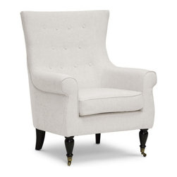 """Wholesale Interiors - Osmaston Beige Linen Modern Accent Chair - Enjoy the simple pleasure of a piping hot cup of tea in your new favorite chair. We love the Osmaston Modern Accent Chair's soft, neutral beige linen with subtle curved back and scroll arms. Chinese-made with an engineered wood frame, the designer living room chair features a removable seat cushion, all padded with foam cushioning (CA117 compliant). Matching beige linen piping on the edges adds a dimension of tailored polish. Black lacquer wood legs, the front two of which feature decorative antiqued metal wheels, complete the look. The Osmaston Modern Club Chair requires minor assembly and calls for spot cleaning as necessary. Also available is the Osmaston Arm Chair in gray linen (sold separately). Product dimension: 32.75""""W x 34.25""""D x 41.37""""H, seat dimension: 21""""W x 21""""D x 19.25""""H, seat height: 25""""."""