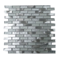 GL STONE - Silver subway Glass and Aluminum Mosaic Tile, ( 1 Carton/ 11 Sq Ft ) - 1/2 in. x 2 in. Silver Aluminum and Glass Mosaic Tile is the best choice for Bathroom Floor, Kitchen Backsplash and shower wall. This beautiful mosaics is made from glossy glass & brush pattern aluminum in silver color. The glossy & frosted finish gives a distinctive appearance; It also looks great in large spaces or smaller areas like a kitchen backsplash, bathroom wall, shower border, etc.