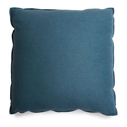 Blu Dot - Blu Dot Large Square Pillow, Aqua - It might be a square, but it's no where near boring. Available in 12 colors for you to play with.Cocoa, Graphite, Pebble, Persimmon: 100% Polyester, Chalk, Dark Roast: 70% Acrylic / 30% Wool blend, Ocean, Smoke, Stone: 77% Cotton / 23% Polyester, Aqua: 60% Wool / 40% Rayon blend upholstery, Guacamole: 80% Acrylic / 30% Wool