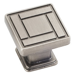 Jeffrey Alexander - Rochester Cabinet Knob, Brushed Pewter - 1 1/8 inch Overall Length Zinc Die Cast Arts & Crafts Cabinet Knob. Packaged with one 8/32 inch x 1 1/8 inch screw. Finish: Brushed Pewter