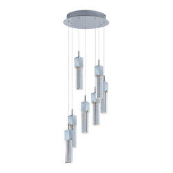 ET2 Contemporary Lighting - ET2 Contemporary Lighting E22767-89PC Fizz III 7 Light Pendants - This ever popular collection is now better than ever. Fizz 3 is the new and improved version of the previous Fizz. High output LEDs now illuminate the bubble glass pendants. These LED modules produce 20% more light, 90% less heat, 25 time longer life, and 75% less energy than the previous halogen lamp. You also still have dimming capability.