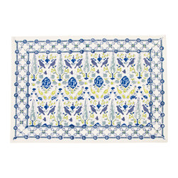 """Origin Crafts - Aviary blue placemats (set of 4) - Aviary Blue Placemats (Set of 4) Our new Aviary pattern is whimsical and fresh. Hand block printed in shades of blue and lichen green; a nice addition to any dinner party. 100% cotton canvas. Machine wash cold, tumble dry low, warm iron as needed. Made in India. Dimensions (in):13"""" x19"""" By"""