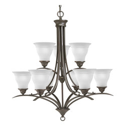 Progress Lighting - Progress Lighting P4329-20 9-Light Chandelier with Etched Glass Shades - Progress Lighting P4329-20 9-Light Chandelier with Etched Glass Shades