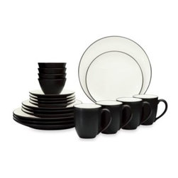 Noritake - Noritake Colorwave Graphite Coupe 20-Piece Dinnerware Set - A splash of color creates a wave of excitement at the dinner table with this dinnerware. Ultra-modern stoneware sports a matte graphite glaze exterior and a creamy interior for a great addition to any dinner table.
