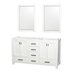 Abingdon 60 Double Bathroom Vanity Set White - Distinctive styling and elegant lines come together to form a complete range of modern classics in the Abingdon Bathroom Vanity collection. Inspired by well established American standards and crafted without compromise, these vanities are designed to complement any decor, from traditional to minimalist modern.