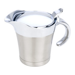 Miu France - Miu France Stainless Steel Double Insulated Gravy Boat - Ladle out your secret family recipe in style with this double insulated gravy boat from Miu France. This stainless steel table accessory holds 16 ounces and has an easy-pour spout that prevents drips to keep your table neat and clean.