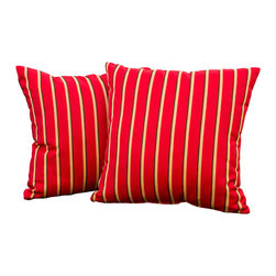 """Great Deal Furniture - Cheri Crimson Red Striped 17"""" Outdoor Accent Pillow (Set of 2) - Accessorize your home with these Cheri red striped pillows. Upholstered in Sunbrella woven fabric, a durable weather resistant material, these colorful chic accent pillows are a great option to add flare and comfort to your home. Use them indoors or to accessorize your outdoor seating set."""