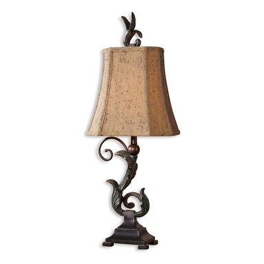 Uttermost - Caperana Black Buffet Lamps Set of 2 - Illuminate your buffet with refined finery. This lovely pair of lamps, designed by Carolyn Kinder, couple a curvy leaf motif with the clipped corners of a bell shade to bring elegant illumination to your favorite setting.