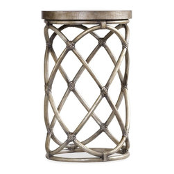 Hooker Furniture - Melange Rattan Accent Table - White glove, in-home delivery!  For this item, additional shipping fee will apply.  The Rattan Accent Table combines the best of earthy and metropolitan influences.  Croc embossed robus leather.
