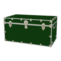 Rhino - Toy Trunk - Forest Green (Super Jumbo) - Choose Size: Super JumboWheels are not included. Includes two nickel plated steel universal wheel adapter plates. Wheel adapter plates mounted on side of the trunk. American craftsmanship. Several obscure ventilation holes to provide plenty of air should your child ever go into the trunk and have someone close it on them. Strong hand-crafted construction using both old world trunk making skills and advanced aviation rivet technology. Steel aircraft rivets are used to ensure durability. Heavy duty proprietary nickel plated steel latches and hardware. Heavy duty nickel plated steel lid hinges plus lid stays for keeping lid propped open. Tight fitting steel tongue and groove lid to base closure to keep out moisture, dirt, insects, odors etc.. Stylish lockable nickel plated steel trunk lock has loop for attaching padlock. Discrete ventilation holes. Special soft-close lid stay. Nylon cordura exterior laminate. Lifetime warranty. Made from 0.38 in. premium grade baltic birch hardwood plywood with nickel-plated steel hardware. Large: 32 in. W x 18 in. D x 14 in. H (29 lbs.). Extra large: 36 in. W x 18 in. D x 18 in. H (36 lbs.). Jumbo: 40 in. W x 22 in. D x 20 in. H (67 lbs.). Super jumbo: 44 in. W x 24 in. D x 22 in. H (69 lbs.)Safety First! A superior quality, heavy-duty toy trunk that's designed for a child's well-being, yet looks handsome in any room. Toy Trunk is constructed from the highest quality components. This treasure chest incorporates several safety features to insure that it is child friendly. Those include small ventilation holes should a child ever decide to climb in and take a nap, as well as specially designed, American made soft-close lid stays. The lid stays keep the lid from slamming shut. In fact, the lid will only close if you push it down. This will keep small hands protected. Also, the toy trunk will not lock on its own. Toy Trunk are conveniently sized and ruggedly built. They are strong enough to stand on! Best of all, these advanced design wheels do not add any extra height to the trunk. Even with the wheels on, the trunk is stackable.