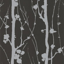 Graham and Brown - Super fresco Solitude Wallpaper - in Black - Designed by Array. Unpasted - offset design match