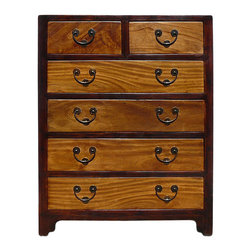 Golden Lotus - Chinese Oriental Two Brown Color Dresser Storage Cabinet - This is an oriental simple dresser with dark brown color on the frame and lighter wood pattern brown color on the drawers.