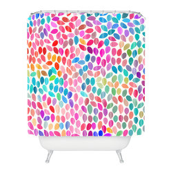 DENY Designs - Garima Dhawan Rain 8 Shower Curtain - Who says bathrooms can't be fun? To get the most bang for your buck, start with an artistic, inventive shower curtain. We've got endless options that will really make your bathroom pop. Heck, your guests may start spending a little extra time in there because of it!
