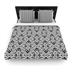 """Kess InHouse - Mydeas """"Diamond Illusion Damask Black & White"""" Pattern Cotton Duvet Cover (Queen - Rest in comfort among this artistically inclined cotton blend duvet cover. This duvet cover is as light as a feather! You will be sure to be the envy of all of your guests with this aesthetically pleasing duvet. We highly recommend washing this as many times as you like as this material will not fade or lose comfort. Cotton blended, this duvet cover is not only beautiful and artistic but can be used year round with a duvet insert! Add our cotton shams to make your bed complete and looking stylish and artistic!"""