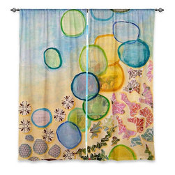 """DiaNoche Designs - Window Curtains Lined by Laurie Mills Detritus I - Purchasing window curtains just got easier and better! Create a designer look to any of your living spaces with our decorative and unique """"Lined Window Curtains."""" Perfect for the living room, dining room or bedroom, these artistic curtains are an easy and inexpensive way to add color and style when decorating your home.  This is a woven poly material that filters outside light and creates a privacy barrier.  Each package includes two easy-to-hang, 3 inch diameter pole-pocket curtain panels.  The width listed is the total measurement of the two panels.  Curtain rod sold separately. Easy care, machine wash cold, tumble dry low, iron low if needed.  Printed in the USA."""