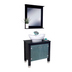 "Fresca - Fresca Emotivo Espresso Vanity w/ Mirror - Dimensions of vanity:  31.5""W x 20.25""D x 39""H. Dimensions of mirror:  27.63""W x 31.5""H x 4""D. Materials:  Solid wood, tempered glass countertop/sink. Single hole faucet mount. P-trap, faucet, pop-up drain and installation hardware included. This contemporary, Italian designed wooden vanity with a ceramic sink is made to impress.  Beautiful design, excellent craftsmanship and practical functionality make this a perfect addition to any trendy bathroom."