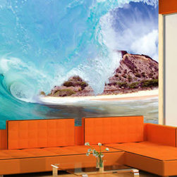 Wall murals - The dynamic waves crashing over a rocky beach with pure white sand is the high resolution photo featured on this modern wall mural. If you are looking to bring some wild nature to your decor, or perhaps have a souvenir of what Hawaii and its beaches look like - this is the perfect reusable wall mural for you. This wall decor is as easy to install as it is to remove. Customize the dimensions of this wall art piece to make it your own.