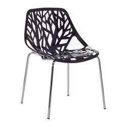 Modway - Stencil Dining Side Chair in Black - Find your inner catalyst with this activating dining chair. Watch as a tree is carefully depicted in Stencil's telling journey between enigmatic forests and song-filled remembrances. Let sunlight filter through and nurture experiences of enduring light.