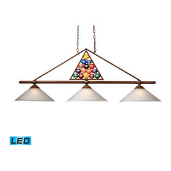 ELK - ELK 66103-3-LED Billiard/Island - The Designer Classics Collection Runs The Gamut From Spirited, Fun-Loving Billiard Lights Inspired By The Game Itself..... To An Array Of Stunning, Rich Designs That Make An Eye Catching Statement For Any Gameroom, Bar Or Kitchen Island. Use In Any Setting Where Optimal Illumination Is Desired. - LED, 800 Lumens (2400 Lumens Total) With Full Scale Dimming Range, 60 Watt (180 Watt Total)Equivalent , 120V Replaceable LED Bulb Included