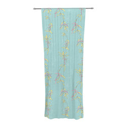 """Kess InHouse - Emma Frances """"Falling Florals"""" Blue Aqua Decorative Sheer Curtain - Let the light in with these sheer artistic curtains. Showcase your style with thousands of pieces of art to choose from. Spruce up your living room, bedroom, dining room, or even use as a room divider. These polyester sheer curtains are 30"""" x 84"""" and sold individually for mixing & matching of styles. Brighten your indoor decor with these transparent accent curtains."""