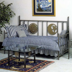 Grace Collection - The Satin Daybed (Blue Patina) - Finish: Blue PatinaThis finely crafted wrought iron frame seems to tell you of its versatility with the depiction of both the sun and the moon built right in.  Most will find that excessive pillows and blankets are not necessary when you buy this great bed, as you'll want to show off the great frame of the bed! * Finely crafted wrought iron frame. Mattress and linens not included. Add optional trundle bed. 41 W x 80 L x 53 H in.