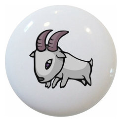 Carolina Hardware and Decor, LLC - Kid's Goat Ceramic Pull Handle, Knob - New 1 1/2 inch ceramic cabinet, drawer, or furniture knob with mounting hardware included. Also works great in a bathroom or on bi-fold closet doors (may require longer screws).  Item can be wiped clean with a soft damp cloth.  Great addition and nice finishing touch to any room.