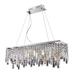 Lite Source - Lite Source Alecia I Modern / Contemporary Pendant Light X-12101-LE - Let the LED lights illuminate the glorious clear crystal for an unforgettable performance.Delicate panel crystal shade with modern chrome finish metal frame brings an exquisite illumination to any setting.