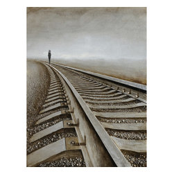 Yosemite Home Decor - Destination Anywhere Art - Yosemite Home Decors DCA01831 is a painting of a railroad fading away into the distance. The gloomy atmosphere of the composition is created with the help of the cloudy sky and the vintage earthy tones carefully selected by the artist. Walking on the railroad tracks, a dark and prolonged figure seems to either be moving away or approaching the viewer. The human-shaped figure expresses a deep feeling of loneliness, but at the same time, of determination to get to the desired destination. The railroad is extremely detailed. All the bolts, the grain of the wood, the scratches on the metallic tracks are carefully depicted in order to add to the authenticity of the artwork. Even the tiny pebbles on the ground are intricately painted, making the DCA01831 look very complex. The railroad seems to be infinite, its end being nowhere to be seen in the painting. The neutral colors can be easily mixed and matched with the elements of any room. Family and guests will surely notice a difference in the atmosphere in the owners home once the DCA01831 is hung on the wall. This work of art is hand painted on a gallery wrapped canvas and signed by the artist ensuring each piece has some subtle differences making it distinctly unique to each owner. The high quality canvas wraps tightly around a sturdy wooden frame that will last for years to come. The painting comes with either a pre-strewn wire or hinges on the back so that its ready for immediate wall mounting. The light weight of the piece allows for easy hanging without worry of damaging your wall. The acrylic paint creates a rich texture that will really catch the light, creating a very sophisticated allure. Each painting is carefully packaged and inspected prior to shipping, ensuring every piece arrives safely and ready to hang on your wall, making for a pleasant purchasing experience from beginning to end.