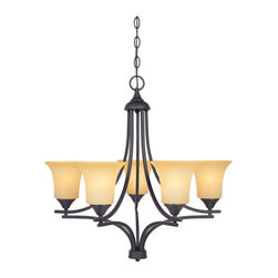 Designers Fountain - Designers Fountain 83485 Seville 5 Light Chandelier in oil-rubbed bronze finish - Shop for Chandeliers from Hayneedle.com! Reminiscent of Mission style the Designers Fountain 83485 Seville 5 Light Chandelier in Oil Rubbed Bronze Finish showcases clean bold lines that evoke a timeless aesthetic that's elegant in its simplicity. Delicate satin bisque glass shades diffuse a glow of soft light for atmospheric dining or entertaining while the oil rubbed bronze finish works well in both casual and formal settings. A handsome addition to any upscale foyer or dining space this chandelier uses five 100-watt incandescent medium base bulbs (not included).About Designers FountainHeadquartered in sunny Los Angeles Designers Fountain lets you show off your creative side. Indulge yourself and your home with a range of lighting styles from contemporary to classic each crafted with care from high-quality materials. Designers Fountain supplies lighting fixtures to over 1 200 authorized North American dealers and sources designs from across the world. Get quality lighting that enhances your home while impressing you with its affordable price... only from Designers Fountain.