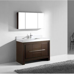 """Madeli - Madeli Vicenza 48"""" Bathroom Vanity with Quartzstone Top - Walnut - Madeli brings together a team with 25 years of combined experience, the newest production technologies, and reliable availability of it's products. Featuring sleek sophisticated lines Madeli vanities are also created with contemporary finishes and materials. Some vanities also feature Blum soft-close hardware. Madeli also includes a Limited 1 Year Warranty on Glass Vessels, Basin, and Counter Tops. Features Base vanity with two soft-close drawers and two soft-close doors Walnut finish Polished Chrome handle and leg finish 3""""H Quartzstone Countertops come in White or Soft Grey finish Quartzstone Countertops come with single faucet or 8"""" widespread faucet holes Ceramic undermount sink with overflow Faucet and drain are not included Backsplash included Matching mirror and medicine cabinet available Limited 1 Year Warranty on Glass Vessels, Basin, and Counter Tops How to handle your counter Spec Sheet Installation Instructions"""