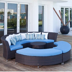 Coastal Circular Outdoor Sectional Sofa - The Coastal Circular outdoor wicker sectional has quarter round sections with or without backs. A matching coffee table is also available.