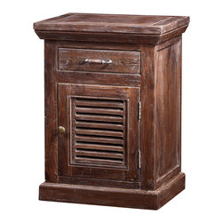 Artemano - Jo Bedside Table Made of Weathered Acacia Wood - The Jo Bedside Table is designed to maintain a traditional appeal with intricate detailing and weathered Acacia wood. An small storage area located behind the charming shutter door creates both style and function.  The unique design works especially well as a bedroom nightstand, a side table in an elegant living room or in any cozy corner of the home.