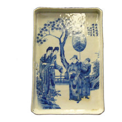 Golden Lotus - Chinese Color Scenery Porcelain Rectangular Tray Plate - This is a decorative tray shape plate in rectangular shape. The surface is handpainted with oriental scenery.