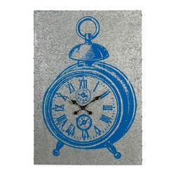 Merten Blue Galvanized Metal Wall Clock - *Is it a picture of a clock or is it a clock? It's the best of both worlds! The Merten Clock features a bold blue graphic of a clock on a sheet of galvanized metal, with working clock hands in the center.