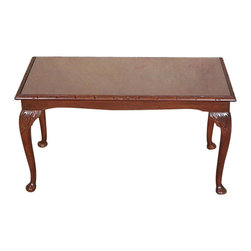 Antiques - Vintage Mahogany Glass Top Coffee Table - Country of Origin: England