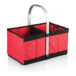 Picnic time - Urban Basket Red - The Urban Basket is a folding, collapsible canvas basket that's as versatile as it is stylish. It has a stationary, form-fitted aluminum handle to which the accordion-style canvas body folds for compact storage, and a snap closure keeps the basket folded. The padded, interior base flattens out to keep the basket erected or folds in half lengthwise for storage. Use the Urban Basket for shopping or to transport items at or away from home.