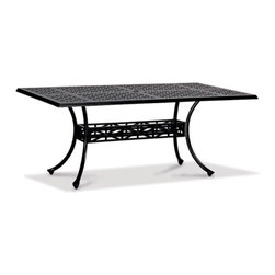 Thos. Baker - hedges dining table - Our hand-cast aluminum hedges collection recreates the look of classic English cast iron without the weight. Black powder-coated enamel provides a rust-free, UV-resistant finish that is extremely durable. Chair and sofa backs feature a Union Jack criss-cross motif with a center medallion.  This British flag pattern is repeated in all the table tops.