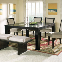 Steve Silver Co. - Movado Table Dining Set w Velvet Seating in M - Includes Table, 4 Chairs & Bench. Table features beveled glass inset. Multi-step Deep Merlot finish. Contemporary style. Corner block construction. Tongue and groove joints. Select hardwood solids material. Some assembly required. Velvet upholstered seats. Table: 60 in. L x 60 in. W x 30 in. H (145 lbs.). Chair: 18 in. L x 25 in. W x 38 in. H. Bench: 50 in. L x 19 in. W x 19 in. H (52.5 lbs.)