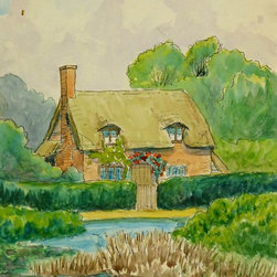 Cottage & Pond, C. 1970, Watercolor - Original watercolor painting of a quiet English cottage surrounded by lush foliage and a tranquil pond, circa 1970.