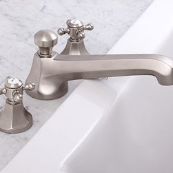 Cole Roman Tub Faucet, Satin Nickel finish - Our Cole Sink Faucet is known for its solid construction and clean profile. We've now added coordinating roman faucets to complete the collection. Crafted of brass, with a smooth rust-resistant finish. Rounded cross-hatch handles with vintage-style Hot and Cold lettering. Set includes tub faucet and handles. See available finishes below. Professional installation required. {{link path='pages/popups/sink_cole_roman_popup.html' class='popup' width='720' height='800'}}Learn more{{/link}} about how to install this tub set. View our {{link path='pages/popups/fb-bath.html' class='popup' width='480' height='300'}}Furniture Brochure{{/link}}.