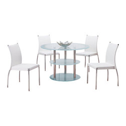 Global Furniture USA - D79DT + DB841DC Round Frosted Glass & White Vinyl Five Piece Dining Set - The D79DT + DB841DC dining table will fit perfectly into any dining space and decor. This table has a unique design with a three tiered setup for extra storage area. It features frosted glass detailing with chrome metal tube legs for support. The dining chairs are finished in a white leatherette. It's chrome trim and legs provide a sleek look that accentuates the style of the chair. The dining set includes the dining table and four chairs only.
