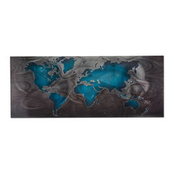 Grandin Road - Land and Sea Metal Map - Sweeping toolmarks show on the hand-sanded surface. Magnified leaf pattern lends texture to the landmasses. Interesting combination of a traditional subject and sleek, modern metal. Acrylic ink on steel, with a protective clear coat. For the traveler, for the art lover, for anyone who appreciates a bold, contemporary statement – our Land and Sea Metal Map is a striking depiction of our planet. Based on a Mercator-projection map, the panel is treated with rich color and eye-catching texture.  .  .  .  . Made in USA.