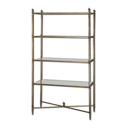 Uttermost - Uttermost 24277  Henzler Mirrored Glass Etagere - Forged iron frame in antiqued gold leaf and iron cross stretchers. display shelves are clear, tempered glass.