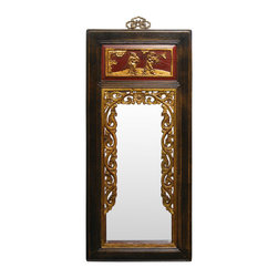 China Furniture and Arts - Elmwood Antique Panel Mirror - This dark brown Elmwood-framed mirror was part of a woman's dowry more than eighty years ago. Ox blood red and gilt accents add understated opulence. Its unique design is hard to find in present day. Retrieved from China's countryside, each panel is slightly different. Please allow us to select for you. Well-preserved antique brass hanger.